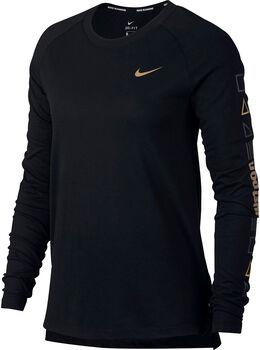 Nike W Nk Tailwind Top LS Langarm Laufshirt Damen schwarz