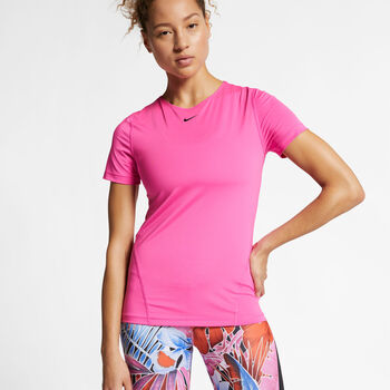 Nike Pro SS All Over T-Shirt Damen pink