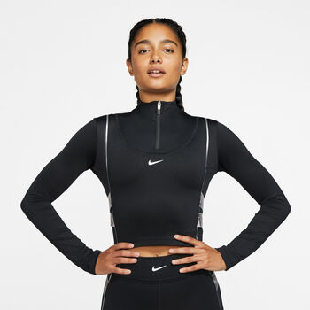 Nike Pro HyperWarm Halfzip Langarmshirt Damen schwarz