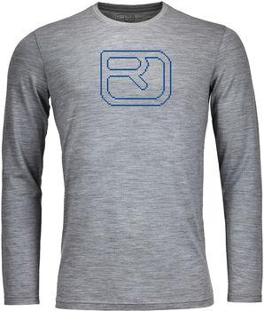 ORTOVOX 185 Merino Pixel Logo Langarmshirt Herren grau