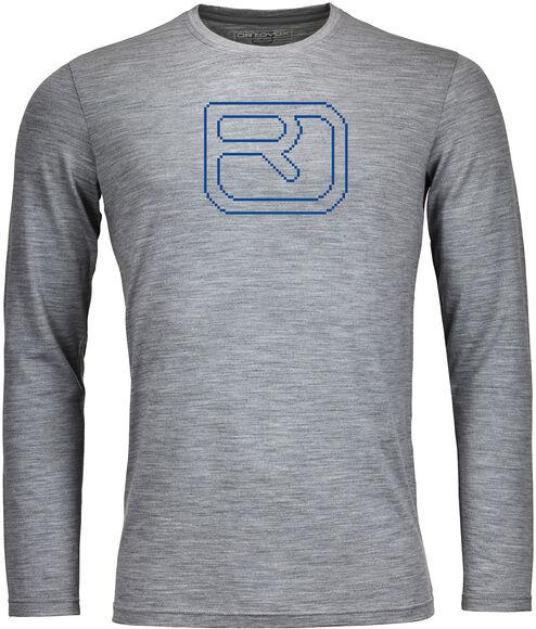 185 Merino Pixel Logo Langarmshirt