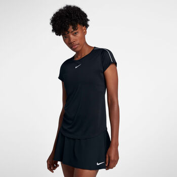 Nike Dry Top Tennisshirt Damen schwarz