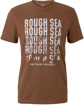 TOM TAILOR Basic With Print T-Shirt Herren braun