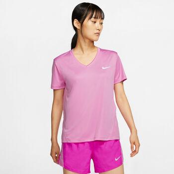 Nike Miler V-Neck T-Shirt Damen pink