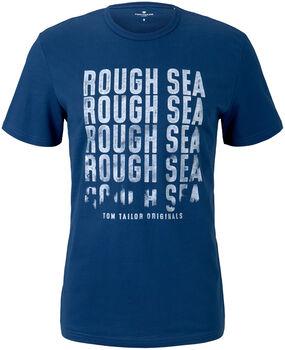 TOM TAILOR Basic With Print T-Shirt Herren blau