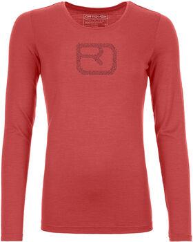 ORTOVOX Merino Pixel Logo Langarmshirt Damen rot