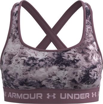 Under Armour Crossback Mid Print Sport-BH Damen lila