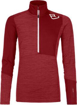 ORTOVOX Fleece Light Langarmshirt mit Halfzip Damen rot