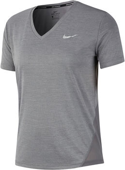 Nike Miler V-Neck T-Shirt Damen grau