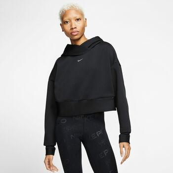 Nike Pro Cln Flc Hoodie Damen schwarz
