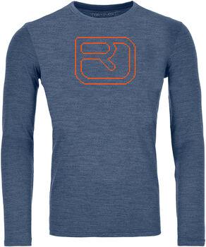 ORTOVOX 185 Merino Pixel Logo Langarmshirt Herren blau
