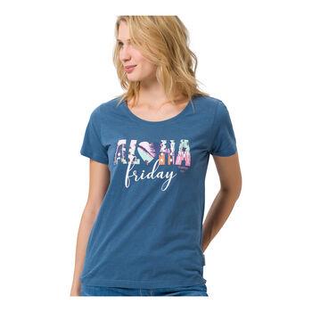 Roadsign Aloha Shirt kurzarm Damen blau