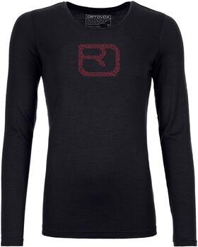 ORTOVOX Merino Pixel Logo Langarmshirt Damen schwarz
