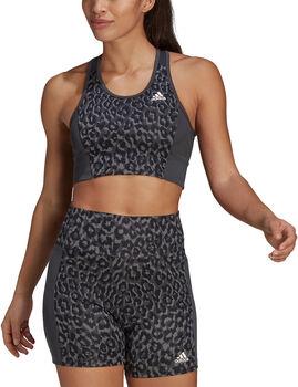 adidas Designed To Move Leopard Sport-BH Damen grau