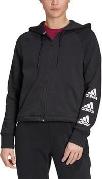 adidas Stacked Logo Fleece Kapuzenjacke Damen schwarz