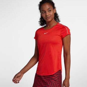 Nike Dry Top Tennisshirt Damen rot
