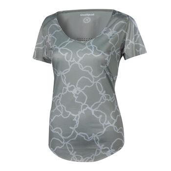 Desigual TS Troquel Camo Fitnessshirt Damen grau
