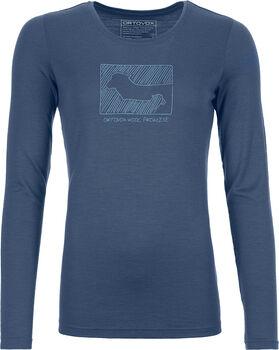 ORTOVOX 185 Merino Contrast Langarmshirt Damen blau